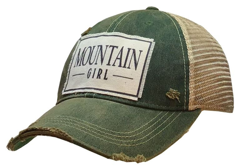 Mountain Girl Distressed Trucker Cap