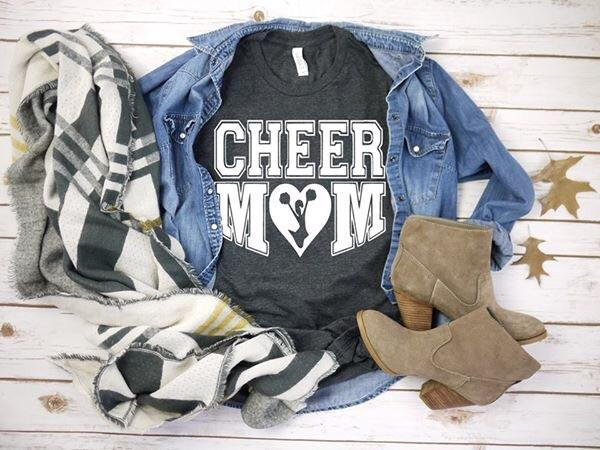 """Cheer Mom"" With a heart Cheer-Leading T-Shirt"