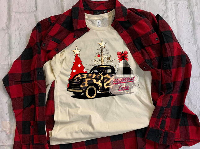 Christmas Leopard Truck Short & Long Sleeve Shirts