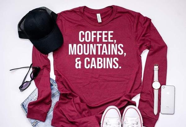 """Coffee Mountains & Cabins"" Country T-Shirt"