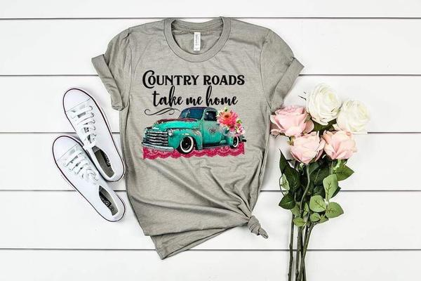 """Country Roads Take Me Home"" Pickup Truck T-Shirt"