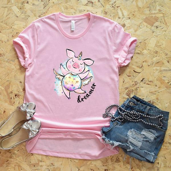 """Dreamer""- Dancing Unicorn Pig T-Shirt"