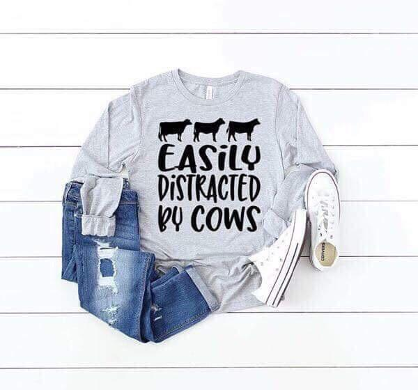 """Easily Distracted By Cows"" Cow Lover T-Shirt"