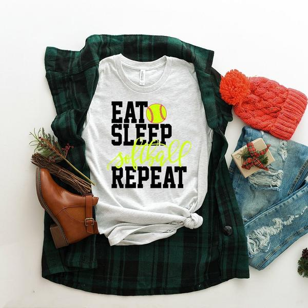 """Eat Sleep Repeat Softball"" Softball Lover T-Shirt"