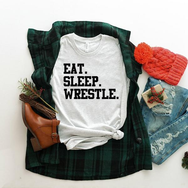 """Eat Sleep Wrestle"" Wrestling Lover T-Shirt"