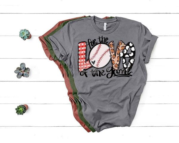 """For The Love Of The Game"" Baseball Lover T-Shirt-Gray"