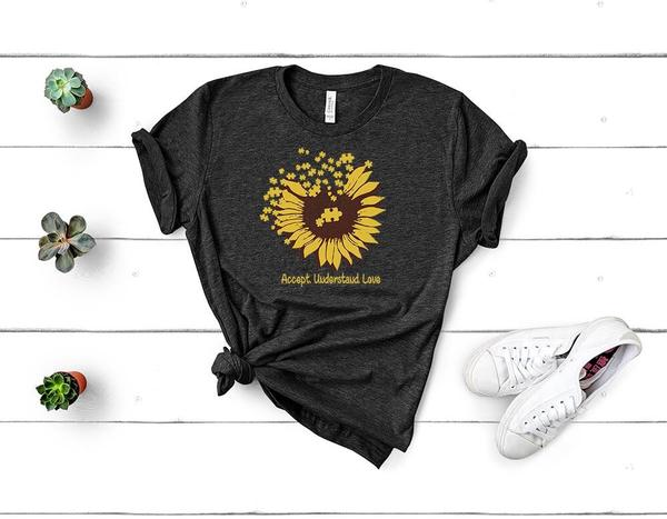 accept understand love sunflower autism awareness tshirt