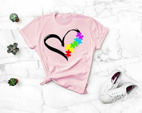 autism inspirational heart with rainbow puzzle pieces tshirt