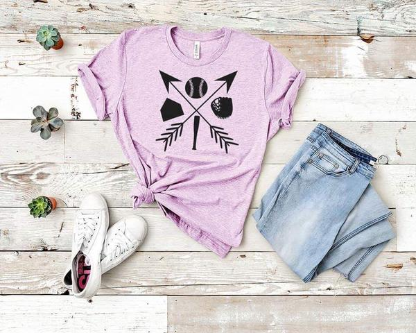 baseball base mit bat tshirt pink