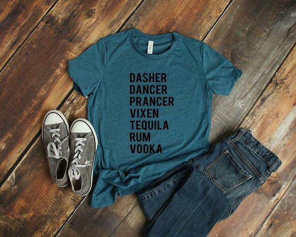 dasher dancer prancer vixen tequila rum vodka funny reindeer tshirt