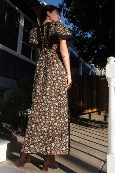 Velvet and Cotton Floral Maxi Dress