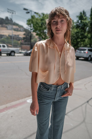 30's Satin Cropped Blouse