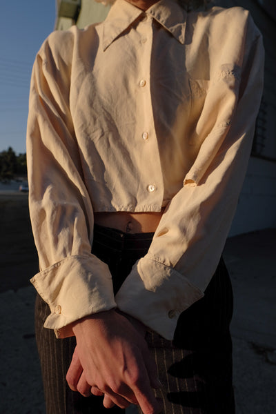 Cream Silk Cropped Blouse