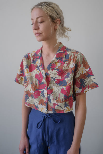 Cropped Hawaiian Cotton Blouse