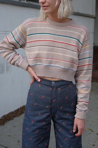 Cropped Cotton Rainbow Knit