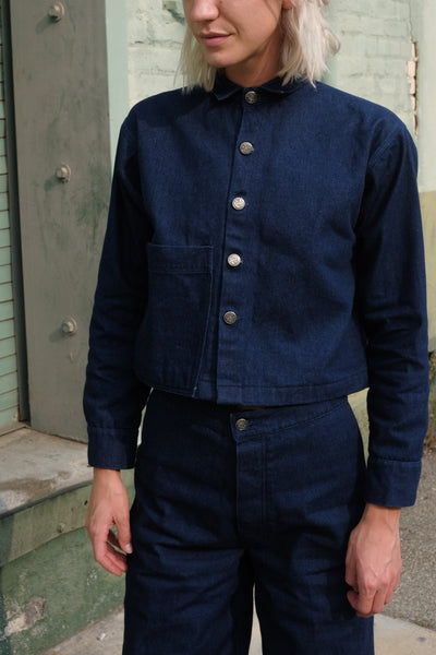 Cropped Denim Chore Jacket