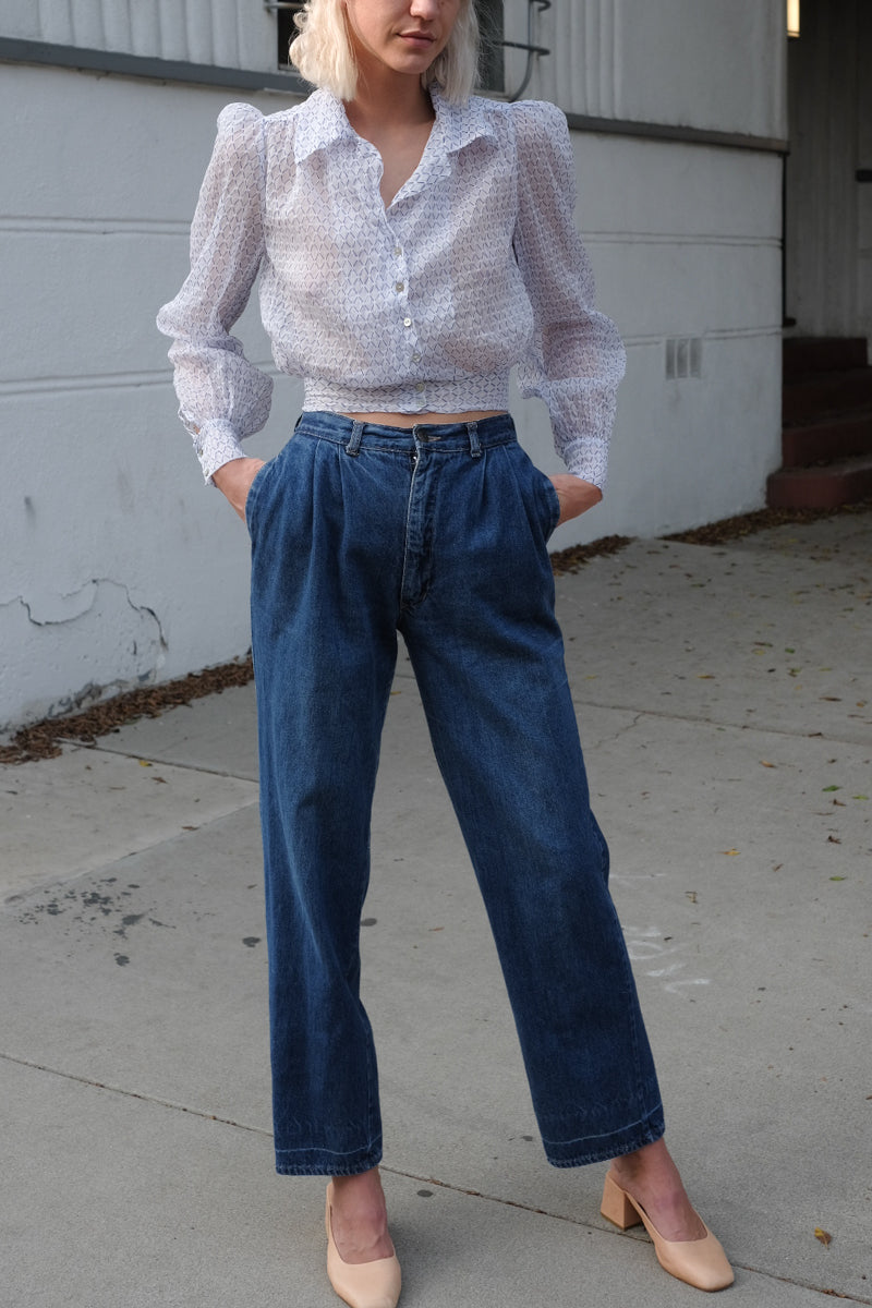Denim Pleated Trousers