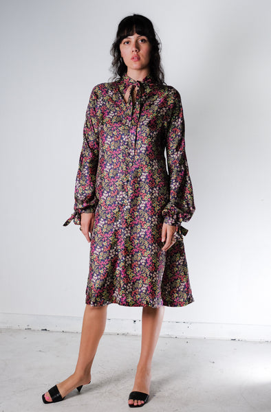 Silk Twill Floral Dress