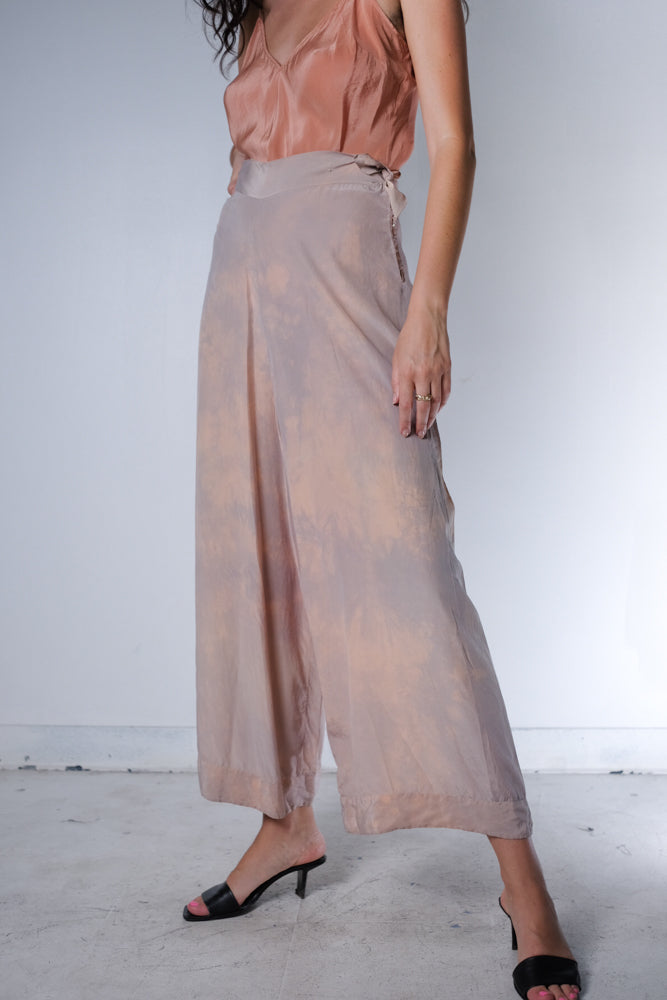 Silk Wide Leg Sunset Pants