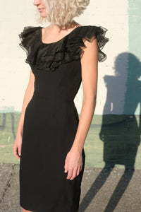 Ruffle Little Black Party Dress