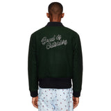 Embroidered Green Bomber Jacket