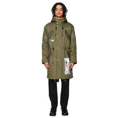 Herringbone Printed Hooded Parka