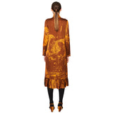 Pleated Dress Spicy Orange