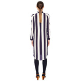 Stripe Pleated Collar Dress Navy / White