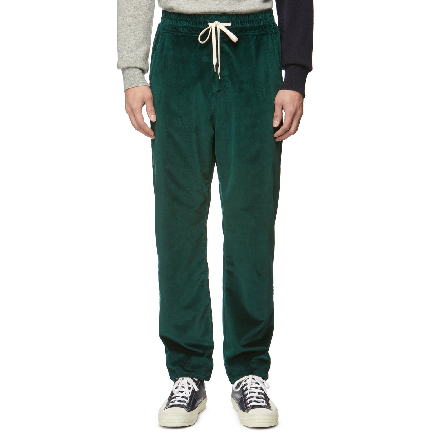 Davos Green Velvet Drawstring Trousers