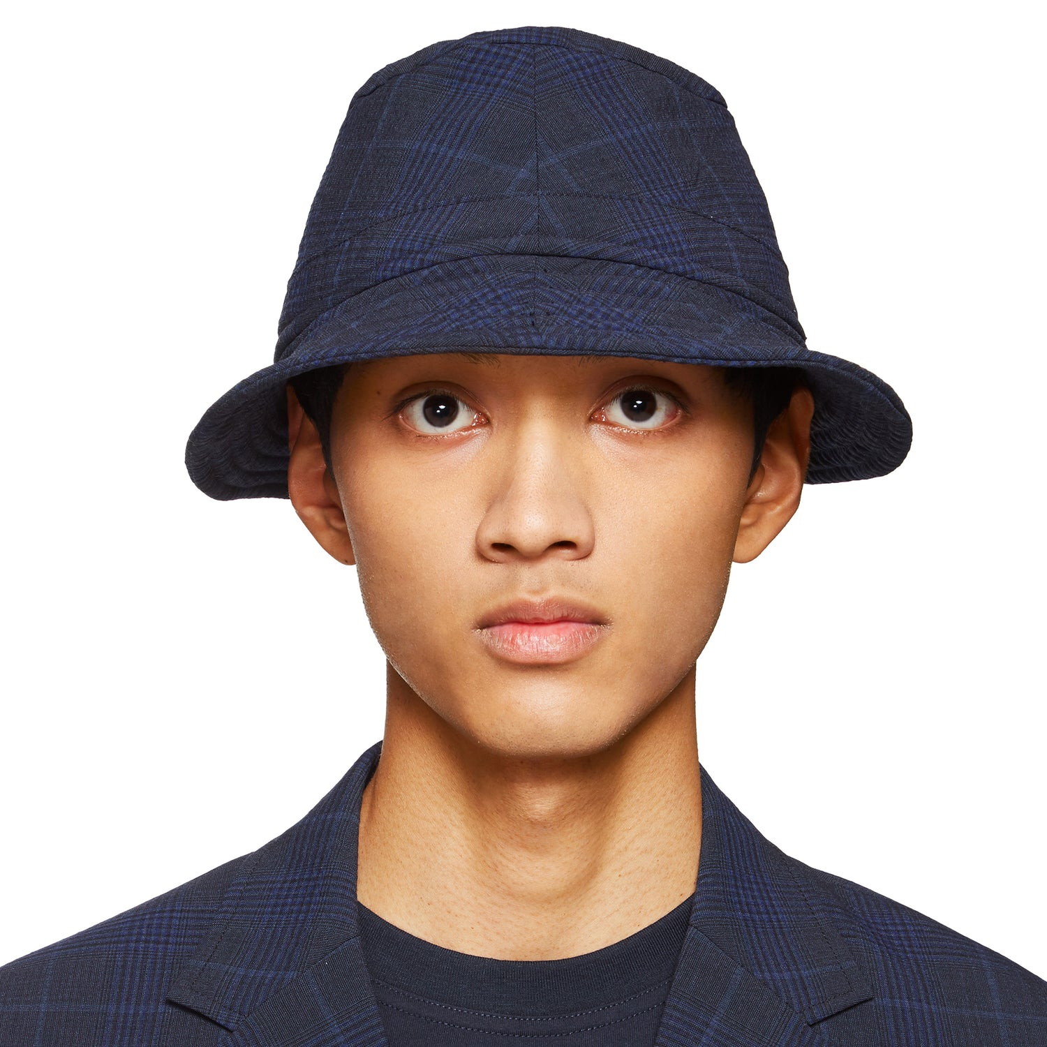 SEERSUCKER NAVY BUCKET HAT