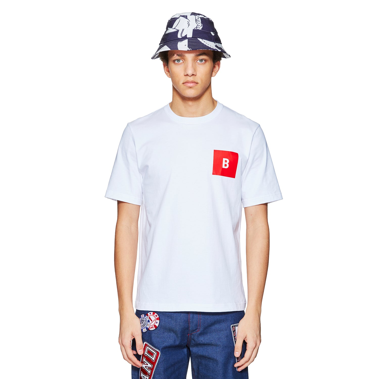 B LOGO WHITE/RED T-SHIRT