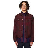 Check Wool Denim Jacket Burgundy / Camel
