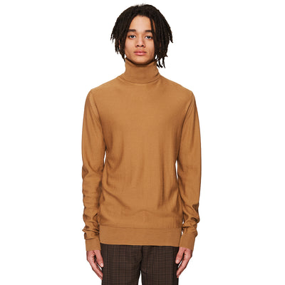 Lightweight Turtleneck Jumper Camel