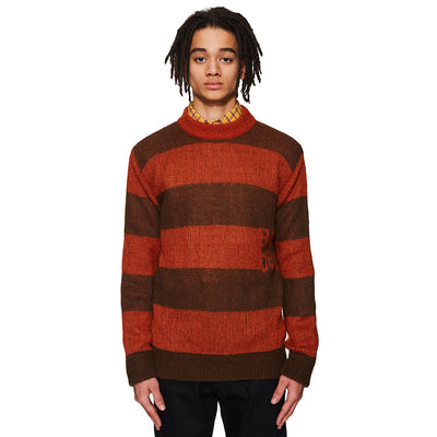 Stripped Mohair Crewneck Spicy Orange