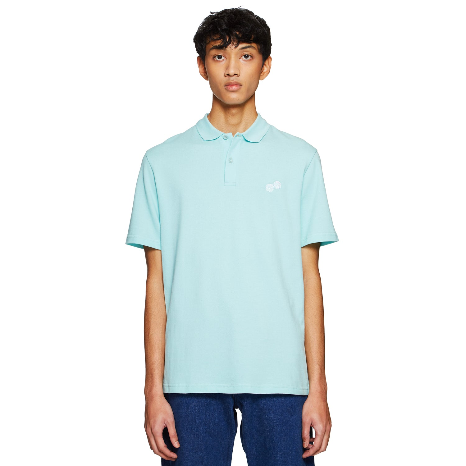Embroidered Dices Aqua Polo Shirt