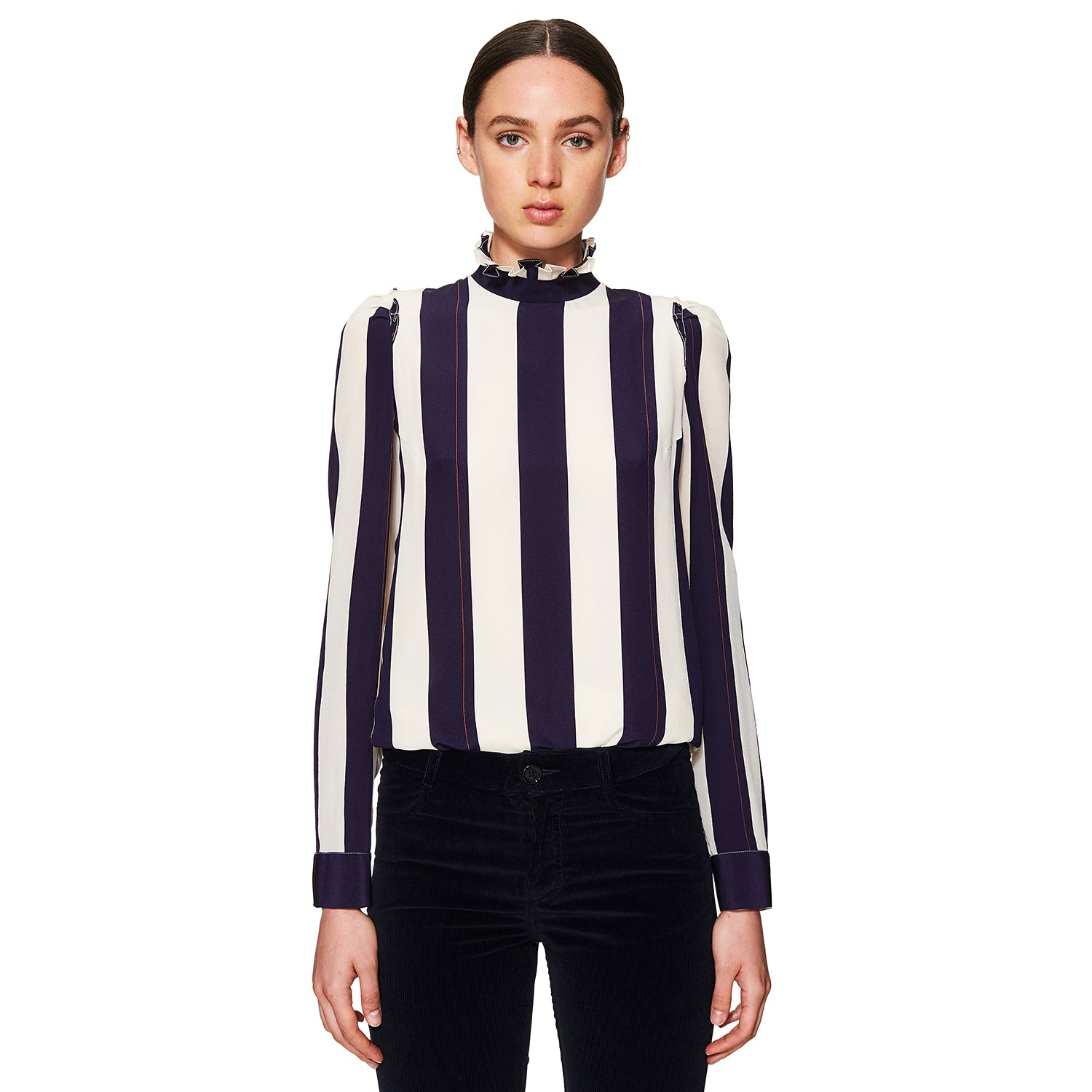 Stripe Pleated Collar Shirt Navy / White