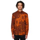 Moon Scene Print Shirt Orange