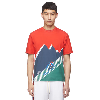 Red/Green Skier Print T-shirt