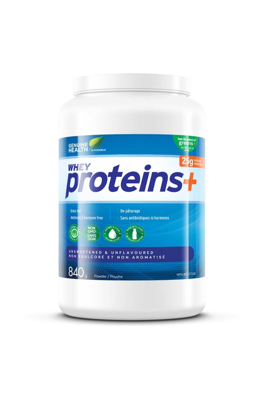 Genuine Health Proteins+ - Unsweetened & Unflavoured 840g