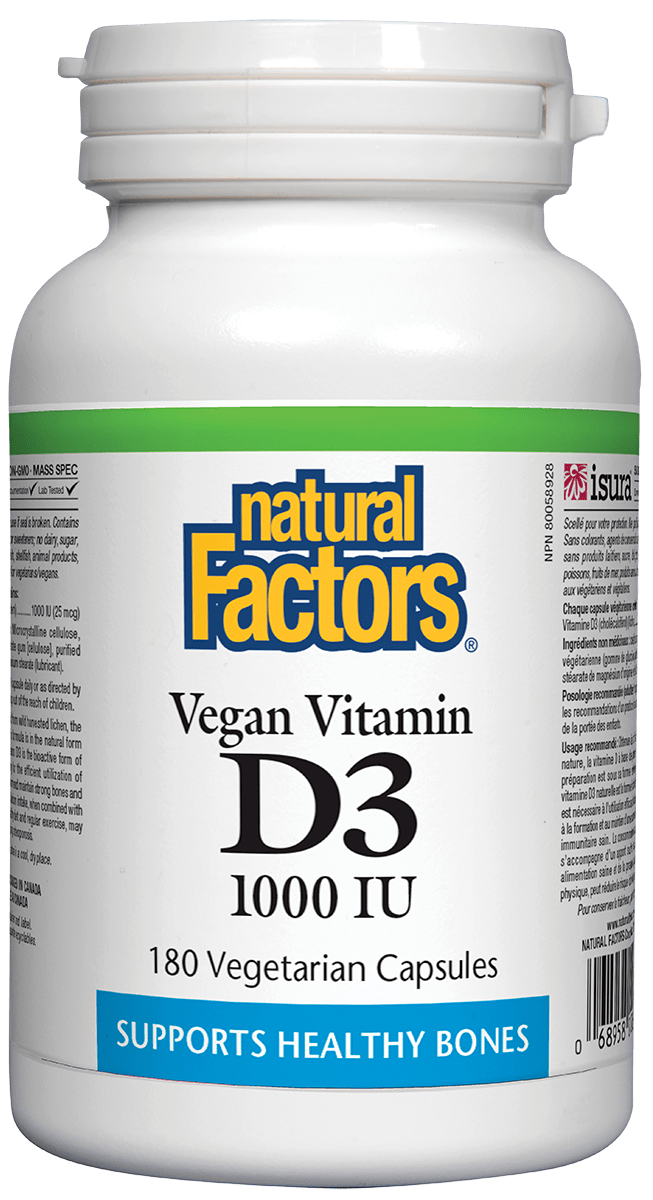 Natural Factors Vegan Vit D3 1000iu 180s