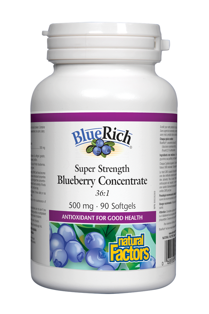 Natural Factors BlueRich Super Strength Blueberry Concentrate 500 mg 90s