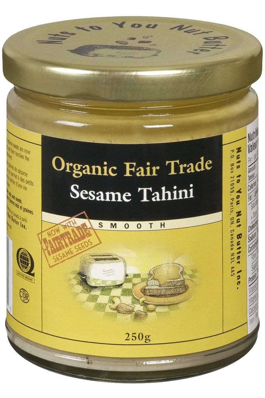 Nuts to You Organic Fair Trade Sesame Tahini - Smooth 250g