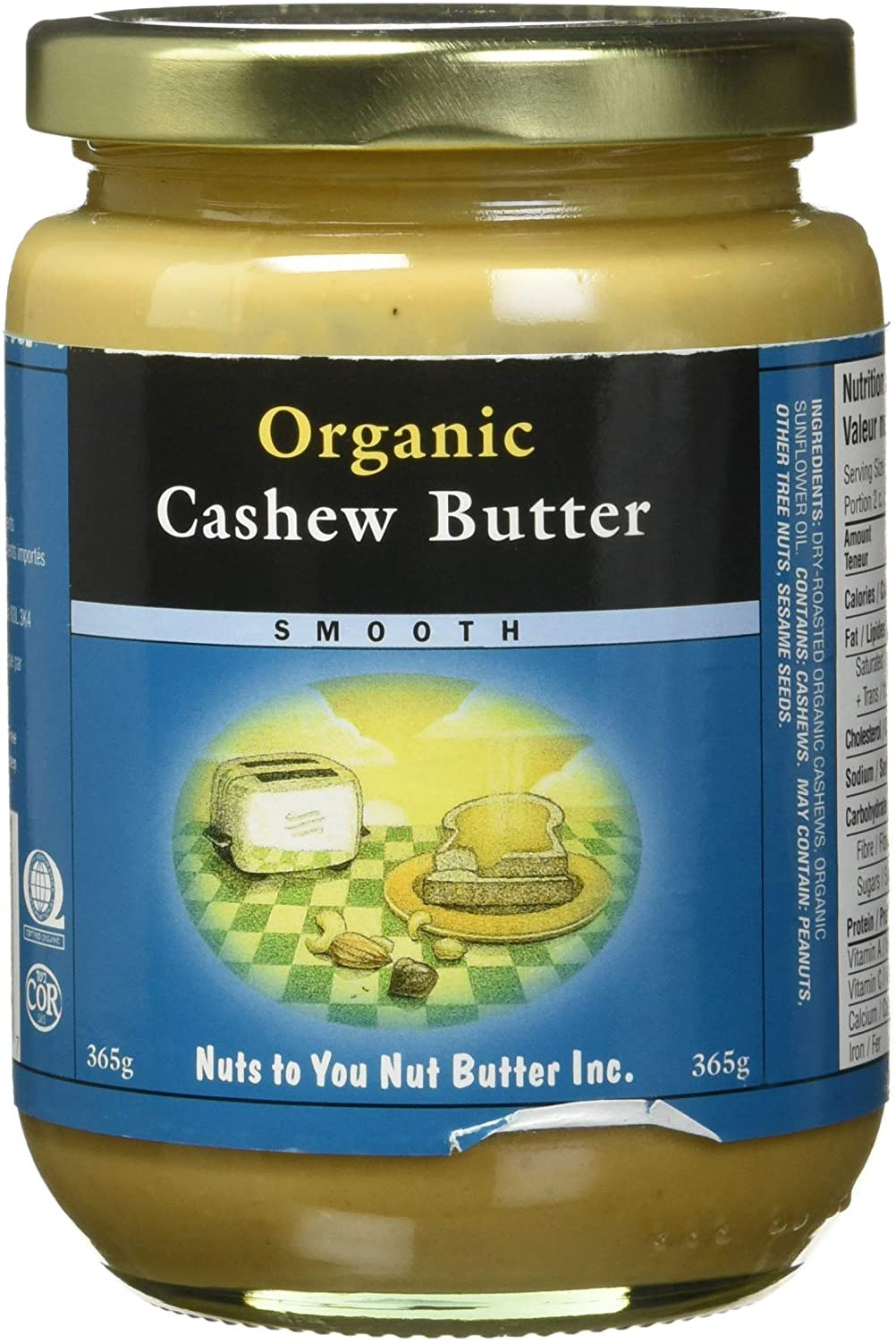 Nuts to You Organic Cashew Butter - Smooth 365g