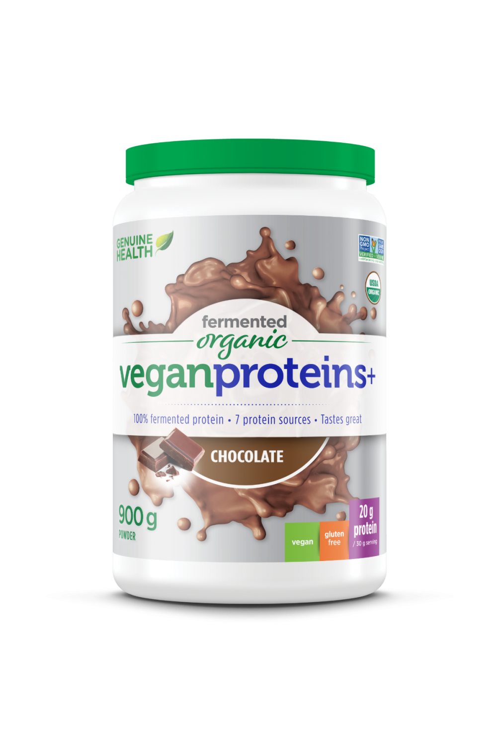 Genuine Health Organic Fermented Vegan Protein+ - Natural Chocolate Flavour 900g