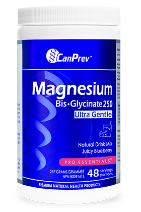 CanPrev Magnesium Bis-Glycinate Powder Juicy BlueBerry 257g