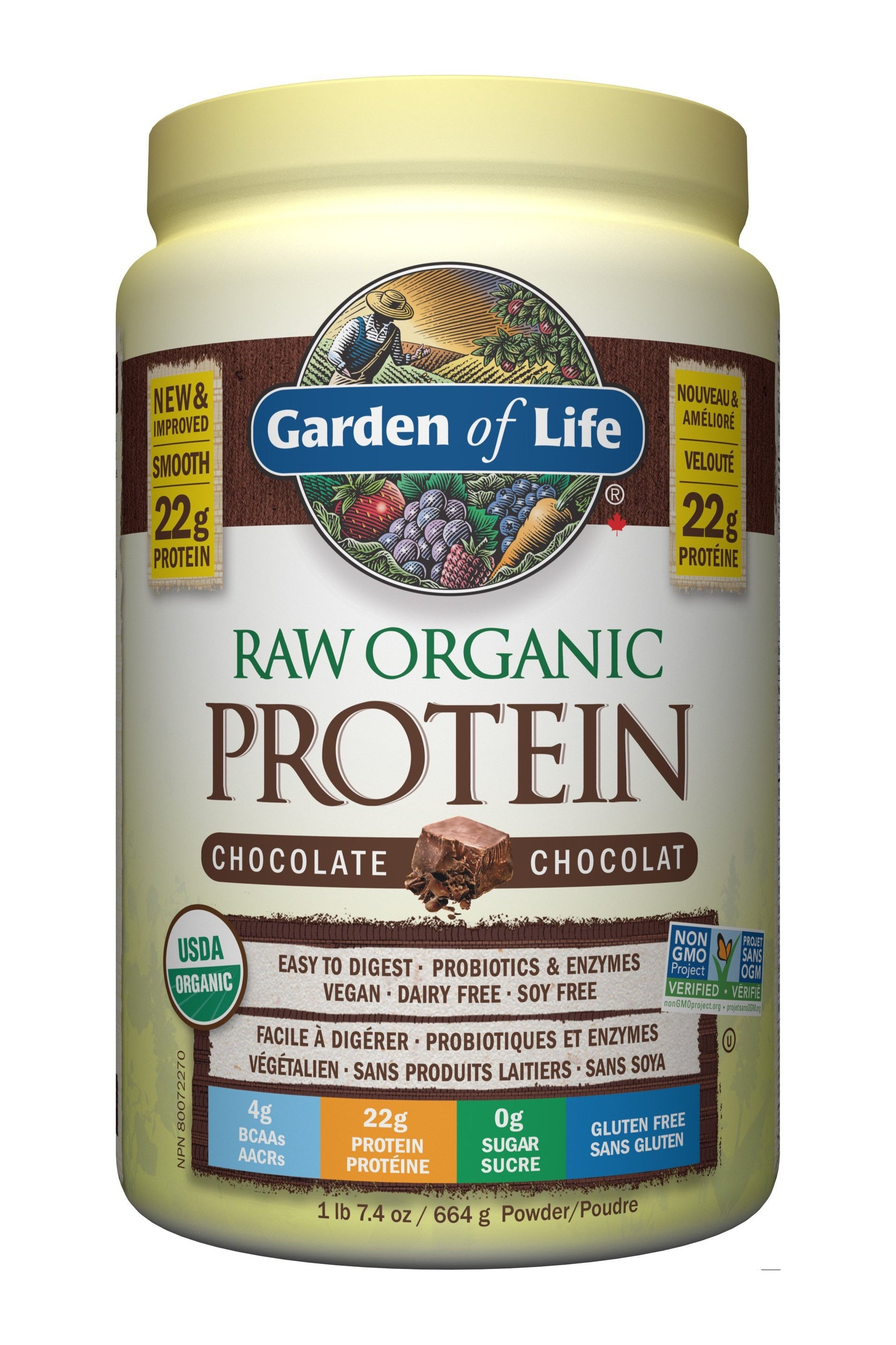 Garden of Life Raw Organic Protein Powder -Chocolate 624g
