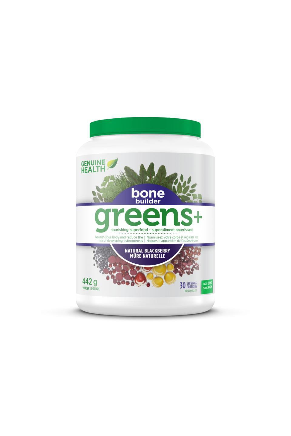 Genuine Health Greens+ Bone Builder - Natural Blackberry Flavour 442g