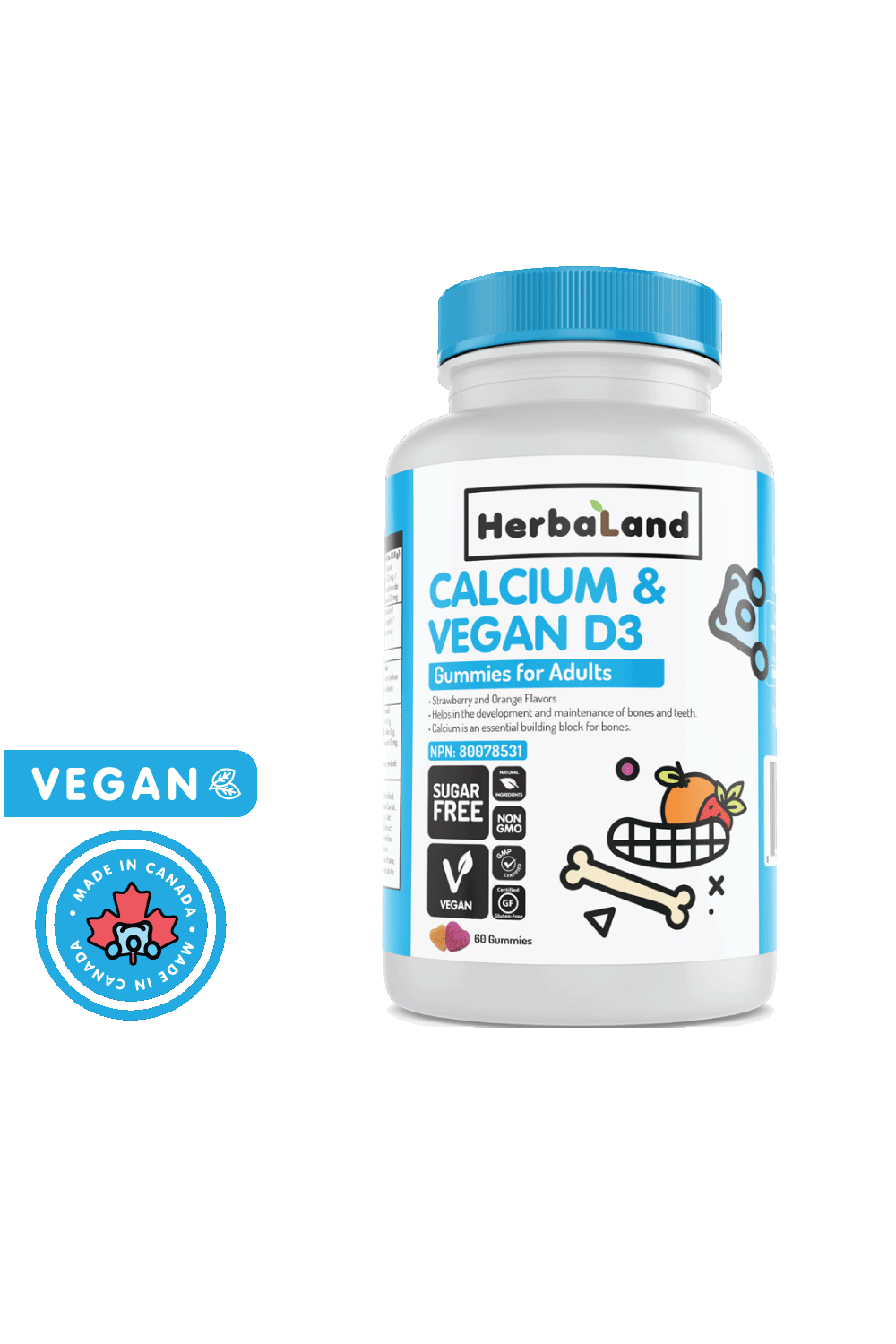Herbaland Gummies for Adults: Calcium With Vegan D3