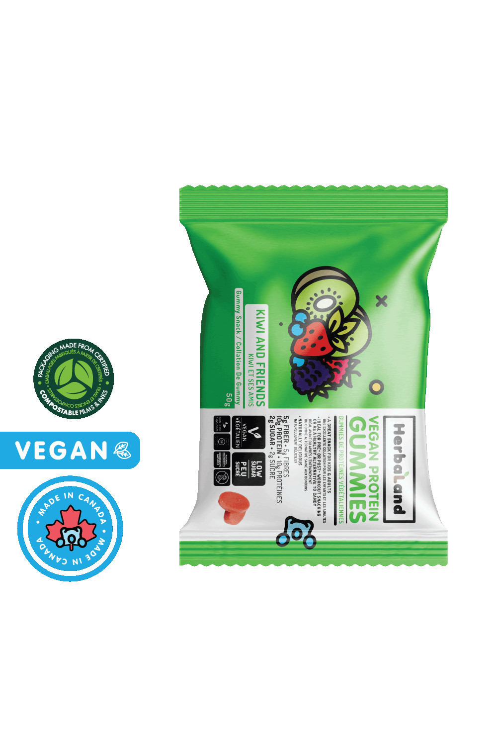 Herbaland Vegan Protein Gummies Kiwi and Friends' Case of 12 packets