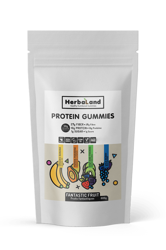 Herbaland Vegan Protein Gummies Fantastic Fruit Case 600g Big Bags